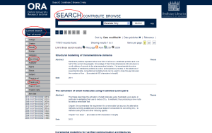 Advanced search page with options in left-hand panel