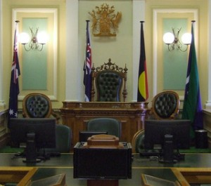 Photograph by David Jackmanson. Depicts the Australian, Queensland, Aboriginal and Torres Strait Islander flags at the Queensland parliament.