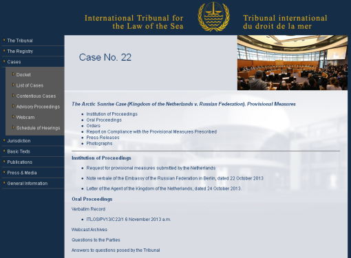 Case page on ITLOS website