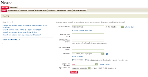 Nexis UK search screen